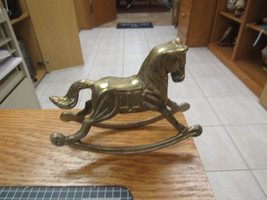 """Solid Brass Rocking Horse Collectible Figurine      5 ½"""" LONG  4"""" HIGH      - $11.00"""