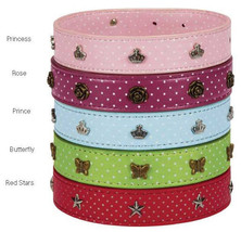 Dog Collar East Side Collection Canine Charmers Faux Leather Charms Collars Pet - $8.99+
