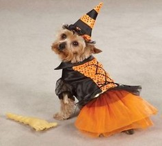 Witch Dog Halloween Costume XS-XL Pet Dress Casual Canine orange black - $17.95