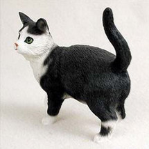 SHORTHAIRED BLACK WHITE TABBY CAT Figurine Statue Hand Painted Resin Sta... - $15.66