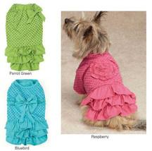 Polka Dot Ruffle Dog Dress Zack & Zoey  pink green blue dresses Pet  - $13.99