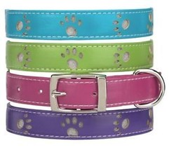 Zack Zoey Dog Collar Faux Leather  Paws green pink - $7.99+