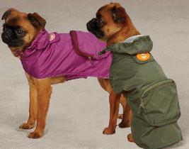 Dog Rain Coat Jacket Pet Waterproof Raincoat Monkey Business Green Raspberry - $15.95+