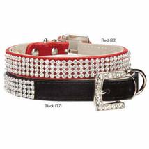 East Side Collection Velvet Rhinestone Dog Collars Pet Collar black red - $10.50+