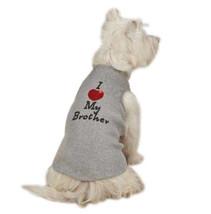 I Love My Brother Gray Dog Tanks Tank Top Tee T-Shirt Pet Heart - $9.99