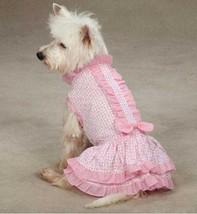 Charlotte Ruffle Dog Dress pet dresses w/ bow pink cotton daisy seersucker - $12.50+