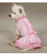 Charlotte Ruffle Dog Dress  pet dresses w/ bow pink cotton daisy seersucker - $12.50 - $14.50