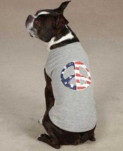Americana Peace Flag Dog Tank Top T-Shirt XXS-XL Gray Casual Canine Tee - $9.99+