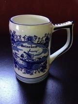 Vintage Delft Blue Handwork Heineken Beer Stein Mug Windmill Sailboat - $5.48