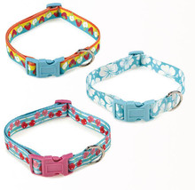 East Side Collection Fruit Frenzy Nylon Dog Collar Pet Collars Cherry Hibiscus - $6.99+