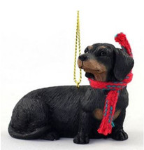 "LARGE 3"" DACHSHUND (BLACK) DOG CHRISTMAS ORNAMENT HOLIDAY Figurine Scarf... - $14.01"