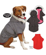 Layered Look 3 in 1 Dog Coat Jacket Removable Hood and Fleece Lining Eas... - $23.98+