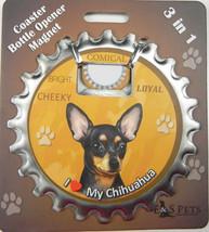 Chihuahua (black) dog coaster magnet bottle opener Bottle Ninjas magnetic - $9.46
