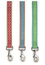 Polka Dot Dog Leash Lead Nylon Ribbon green pink orange - $13.99