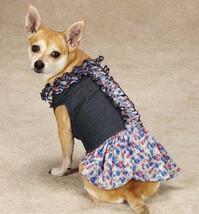 Zack & Zoey Floral Denim Dog Dress Pet Dresses Blue  XXS - M - $13.99+