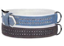 East Side Collection Denim Gemstone Dog Collars Pet Collar Gemstones  blue black - $10.99+