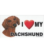 I Love My Dachshund Car Magnet 8x4 Dog Sign Doxie Red - $5.89