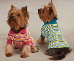 Dog Polo Shirt Top Brite Stripe East Side Striped Dog Polos Blue Raspberry - $13.99+