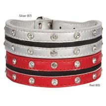 Zack & Zoey Zipper Rhinestone Dog Collars Pet Collar Silver Red - $10.99+