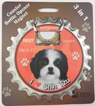 Shih Tzu (black white puppy cut) dog coaster magnet bottle opener Bottle... - $9.46