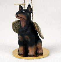 DOBERMAN (BLACK, CROPPED) ANGEL DOG CHRISTMAS ORNAMENT HOLIDAY Figurine ... - $12.35