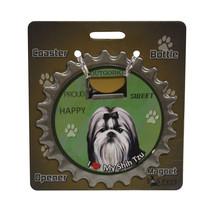 Shih Tzu (black white) dog coaster magnet bottl... - $9.46