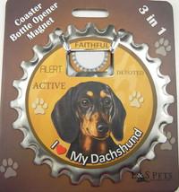Dachshund (black) dog coaster magnet bottle opener Bottle Ninjas magnetic - $9.46
