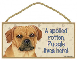 """Spoiled Rotten Puggle Lives Here Sign Plaque Dog  10"""" x 5"""" sign - $9.95"""