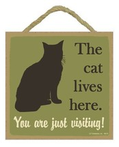 """The Cat Lives Here Sign Plaque 5""""x5"""" easel back pet gift dog puppy - $9.46"""