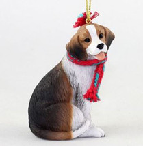 "LARGE 3"" BEAGLE DOG CHRISTMAS ORNAMENT HOLIDAY XMAS Figurine Scarf  gift - $14.01"