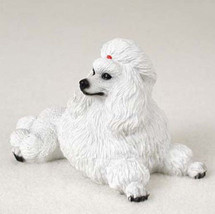 Poodle White  Dog Figurine Statue Hand Painted Resin Gift Pet Lovers - $15.66