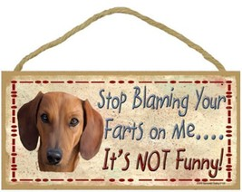 "Stop Blaming Your Farts on Me Dachshund Sign Plaque Dog 10"" x 5"" gift funny - $9.46"