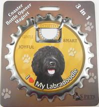 Labradoodle (black) dog coaster magnet bottle opener Bottle Ninjas magnetic - $9.46