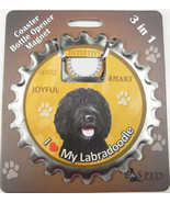 Labradoodle (black) dog coaster magnet bottle opener Bottle Ninjas magnetic - $9.46