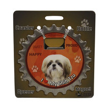 Shih Tzu (tan white) dog coaster magnet bottle ... - $9.46