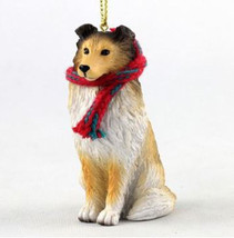 "LARGE 3"" SHELTIE DOG CHRISTMAS ORNAMENT HOLIDAY Figurine Scarf Shetland ... - $14.01"