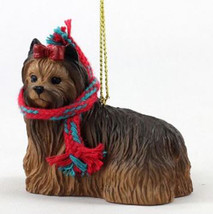 "LARGE 3"" YORKIE DOG CHRISTMAS ORNAMENT HOLIDAY Figurine YORKSHIRE TERRIE... - $14.01"