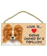 Love Being Owned Papillon  Wood Sign Plaque dog brown - $9.46