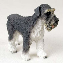 SCHNAUZER DOG Gray Uncropped Figurine Statue Hand Painted Resin Gift Pet Lovers - $15.66