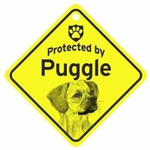 Protected by Puggle  Dog Car Window Sign - $4.75