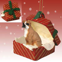 BOXER UNCROPPED BROWN DOG CHRISTMAS GIFT BOX ORNAMENT HOLIDAY Present XM... - $13.98
