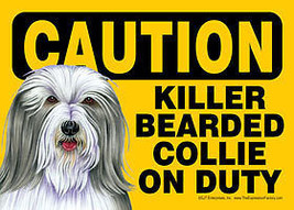 Funny Dog Sign Caution Killer Bearded Collie  on Duty - $4.95
