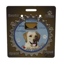 Labrador (yellow) dog coaster magnet bottle opener Bottle Ninjas magneti... - $9.46