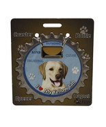 Labrador (yellow) dog coaster magnet bottle opener Bottle Ninjas magneti... - $9.46