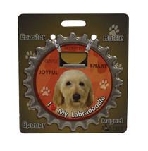 Labradoodle (yellow) dog coaster magnet bottle opener Bottle Ninjas magn... - $9.46