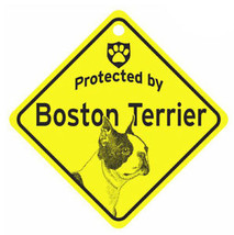 Protected by Boston Terrier Dog Car Window Sign - $4.75