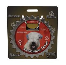 Wheaten Terrier dog coaster magnet bottle opener Bottle Ninjas - $9.46