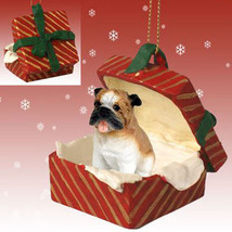 BULLDOG DOG CHRISTMAS GIFT BOX ORNAMENT HOLIDAY Present XMAS PET - $13.98