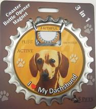 Dachshund (red) dog coaster magnet bottle opener Bottle Ninjas magnetic - $9.46