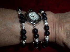 Black and Silver Watch and Bracelet Set - $20.00